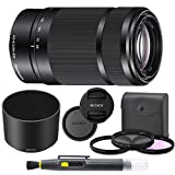 Sony E 55-210mm f/4.5-6.3 OSS Lens (Black) for Sony E-Mount Cameras Bundle. Includes: Filter Kit, Cleaning Pen, Front and Rear Lens Caps and Original Sony Lens Hood - International Version