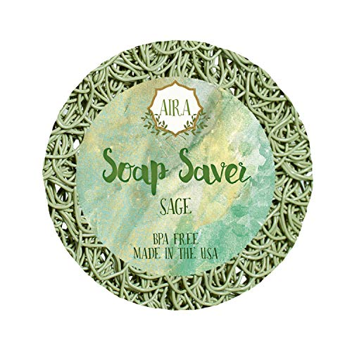 Aira Soap Saver - Soap Dish & Soap Holder Accessory - BPA Free Shower & Bath Soap Holder - Drains Water, Circulates Air, Extends Soap Life - Fits All Soap Dish Sets - Round Sage