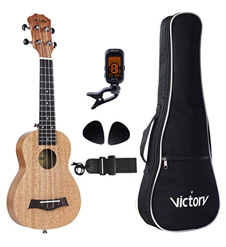 CYC Soprano ukulele 21 Inch mahogany Aquila strings - Beginner Kit: Straps + Bag+ Picks+Tuner - Natural Color ...