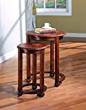 Product review for Coaster 901039 2-Piece Round Nesting Table Set, Cherry