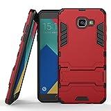 Funda para Samsung Galaxy A5 2016 (5,2 Pulgadas) Híbrida Rugged Armor Case Choque Absorción Protección Dual Layer Bumper Carcasa con pata de Cabra (Rojo)