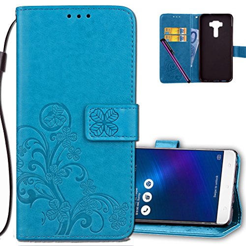 ASUS ZenFone 3 Laser Wallet Case Leather COTDINFORCA Premium PU Embossed Design Magnetic Closure Protective Cover with Card Slots for ASUS ZenFone 3 Laser (ZC551KL). Luck Clover Blue