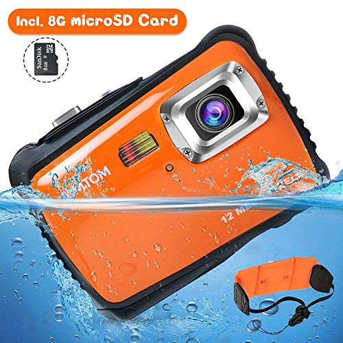 12MP Kids Underwater Digital Camera, Boys Girls Waterproof Action Camcorder, 2″ LCD Screen Children Birthday Learn Sports Cam w/ 8GB microSD Card and Floating Wrist Strap (Pink)