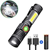 LED Rechargebale Flashlight, Magnetic Zoomable COB Work Light, Super Bright Pocket-Sized T6 LED Torch (included Battery) with Clip, Water Resistant, 4 Modes for Camping Hiking Emergency