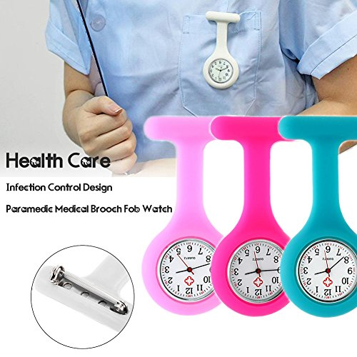 Set of 3 Nurse Watch Brooch, Silicone with Pin/Clip, Infection Control Design, Health Care Nurse Doctor Paramedic Medical Brooch Fob Watch – Pink Rose Blue deal 50% off 51o43fjOnML