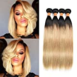 July Queen Black Friday Sales 2018 Malaysian Hair 8a 100% Virgin Hair Silky Straight Weft 4 Bundles Ombre Blonde Human Hair Extensions Color #1b/27(14'16'18'20')