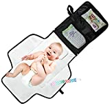 Portable Diaper Changing Pad - Waterproof with Built-in Head Cushion - Baby Diaper Change Mat for Travel and Home - BONUS Pacifier Holder Clip