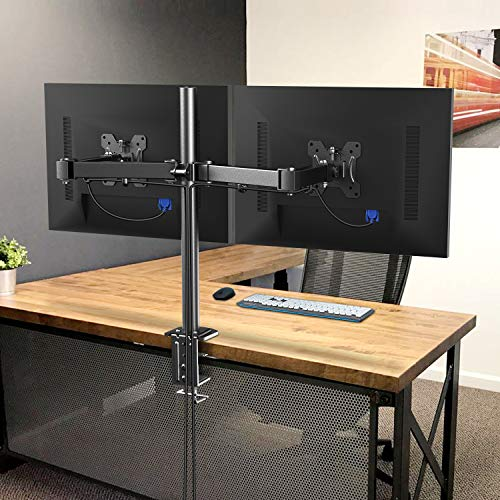 51o5Trp5%2ByL - HUANUO Dual Monitor Mount, Fully Adjustable for Two 13 to 27 inch LCD LED Screens, 2 Mounting Options, VESA 75/100