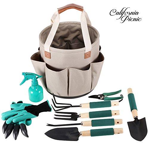 Garden tools set garden tote 9 piece garden tool set for Vegetable garden tools