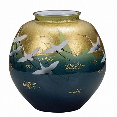 Jpanese traditional ceramic Kutani ware. Ikebana flower vase. Yusai gold leaf crane. With wooden box. ktn-K5-1350