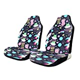 Car Seat Covers Colorful Cats Space Words Elastic Saddle Blanket With Seat Universal Car Seat Accessories,2 PCS