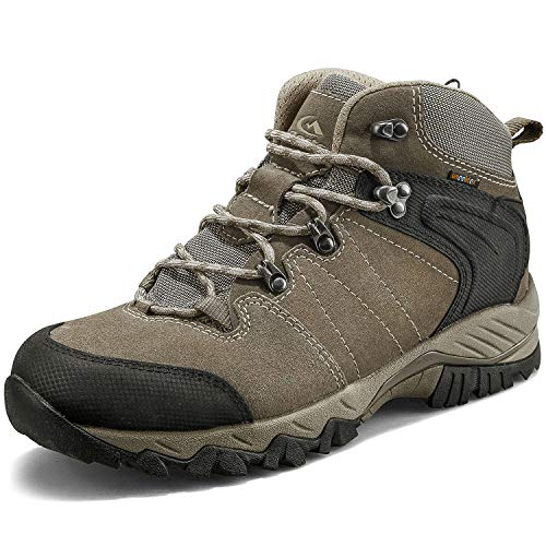 Clorts Men's Classic Hiking Boots Waterproof Suede Leather Lightweight Hiking Shoes Brown US Men Size 9.5 Medium Width