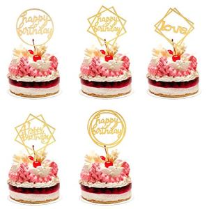 iufvbgxdh 5 Pack Happy Birthday Cake Topper Acrylic Cupcake Topper for Kids Adult Birthday Cake Decorations, Acrylic Cupcake Topper for Boy Girl Baby Shower Party Glitter Supplies 51o8Ia3H9UL