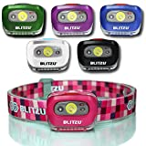 BLITZU Brightest Headlamp Flashlight Gear 165 Lumen with Bright White Cree Led + Red Runner Light for Kids, Men, Women. Perfect for Running, Camping, Home Projects, with Adjustable Headband Pink