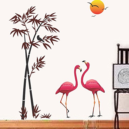 Decals-Design-Flamingos-and-Bamboo-at-Sunset-Wall-Sticker-PVC-Vinyl-90-cm-x-60-cm-Multicolour