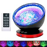 Remote Control Ocean Wave Projector, Dostyle Light Projector 12 LEDs & 7 Colors Changing Modes Night Light and Built-in Mini Music Player for Kids Adults Bedroom Living Room (Black)