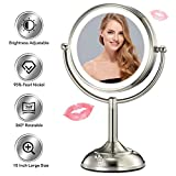 Updated 2019 Newest 10' X-Large Lighted Makeup Mirror, Double Sided 1X/5X Clear Magnification with 48 Medical LED Lights, Brightness Adjustable (0-1000Lux) & 360° Rotation, Premium Pearl Nickel Finish