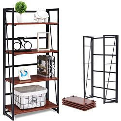 Coavas No-Assembly Folding-Bookshelf Storage Shelves 4 Tiers Bookcase Home Office Cabinet Industrial Standing Racks…