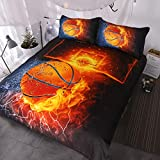 BlessLiving Basketball Bedding for Boys or Girls, 3D Shooting a Basketball, Red Flames and Blue Water, 3 Piece Sports Duvet Cover (Twin)