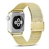 HILIMNY Compatible for Apple Watch Band 38mm 40mm, Stainless Steel Mesh Sport Wristband Loop with Adjustable Magnet Clasp for iWatch Series 1/2 / 3/4, Gold