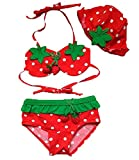 Baby Toddler Girls 3pcs Swimwear Strawberry Bikini Swimsuit With Hat Set (90CM(12-18 Months), Red)