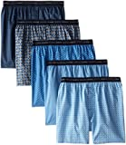 Hanes Men's 5-Pack Printed Woven Exposed Waistband Boxers, Print, Medium