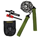 SOS Gear Pocket Chainsaw and Fire Starter - Survival Hand Saw, Firestarter with Built in Compass & Whistle, Embroidered Pouch for Camping & Backpacking - Green Straps, 36' Chain