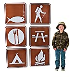 Fun Express - Camp Sign Cutouts (6pc) for Party - Party Decor - Wall Decor - Cutouts - Party - 6 Pieces