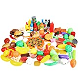 CatchStar Play Food Variety Pretend Food Durable Toy Food Set for Kids Toddler Play Kitchen Outdoor Picnic Foods Accessories Plastic Vegetable Toys Playset Portable Mesh Bag 120 Piece