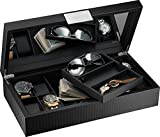 Glenor Co Watch and Sunglasses Box with Valet Tray for Men -14 Slot Luxury Display Case Organizer, Black Carbon Fiber Design for Mens Jewelry Watches, Men's Storage Holder w Large Mirror, Metal Buckle