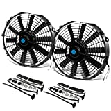 (Pack of 2) 12 Inch High Performance 12V Electric Slim Radiator Cooling Fan w/Mounting Kit - Black