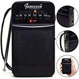 AM // FM Portable Pocket Radio with Best Reception - Small Battery Operated Personal Transistor, Built-in Speaker, 3.5mm Headphone Jack, Easy Tuning, Antenna - Powered by AA Batteries (Black)