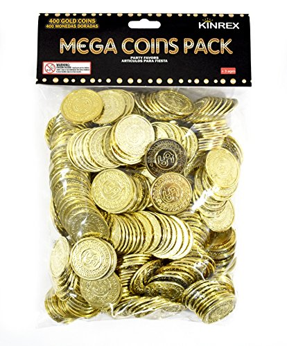 KINREX Plastic Gold Coins - Mega Novelty Pack - St. Patricks Coin - 400 Count - Great for Kids, Toddlers, Games, Teachers