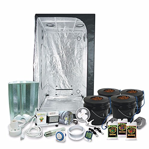 HTGSupply 3 x 3 (39'x39'x79') Grow Tent Kit Complete with 400-Watt HPS Grow Light + DWC Hydroponic System & Advanced Nutrients