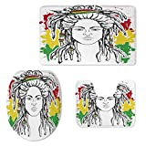 Rasta Soft Three Piece Toilet Seat,Grunge Ethiopian Flag Colors with a Black and White Sketchy Girl Image Decorative for Toilet,ONE Size