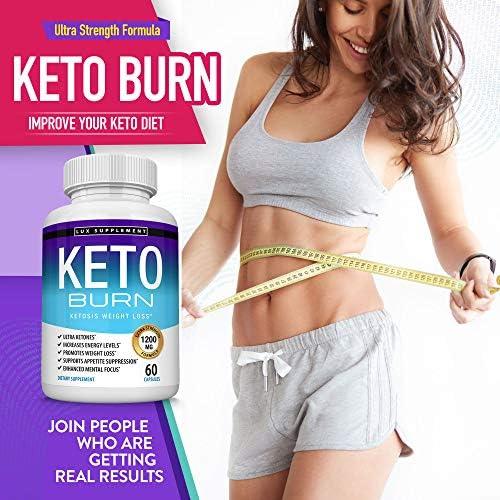 Keto Burn Pills Ketosis Weight Loss - 1200 Mg Ultra Advanced Natural Ketogenic Fat Burner Using Ketone Diet, Boost Energy Focus & Metabolism Appetite Suppressant, Men Women 60 Capsules, Lux Supplement 8