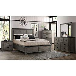 Cambridge Hudson Five-Piece Queen Bed, Dresser, Mirror, Chest, Nightstand Bedroom Suite, Gray