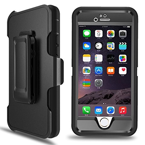 iPhone 5S Case, iPhone SE Case, MBLAI 4 in 1 Hybrid [Heavy Duty] Triple Protection Design Case with [Built-in Screen Protector] [360 Rotating Belt Clip Holster] for Apple iPhone SE/ 5S/ 5 (Black)
