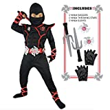 Spooktacular Creations Deluxe Ninja Costume Set (Toddler 3-4) Black/Red