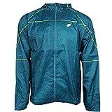 ASICS Men's Fujitrail Packable Jacket, Cool Teal Wood Print, Medium