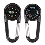 Relefree® Multifunctional Metal Carabiners Clip Hook Mini Compass 3 in 1 Derection Guiding Thermometer Keyring Keychains For Outdoor Sport Hiking Camping Hunting