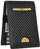 JM Mens Bifold Wallet Money Clip RFID Blocking Travel Wallet Credit Card Holder (carbon fiber black w/metal clip size A)