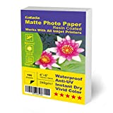Galada Photo Paper Vivid Color Waterproof Photographic Paper Works with All Inkjet Printers (4x6 matte 100sheets)