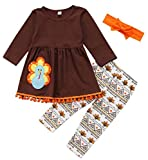 Toddler Baby Girls Turkey Print Dress Shirt Tops Pants Thanksgiving Day Outfits Set Size 1-2 Years/Tag90 (Khaki)
