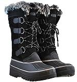 Khombu Womens North Star Waterproof Winter Boot, Black- Size 7