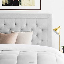LUCID Bordered Upholstered Headboard with Diamond Tufting for Queen Size Bed Frame (Stone)