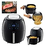 GoWISE USA 5.8-Quarts 8-in-1 Electric Air Fryer XL + 50 Recipes for your Air Fryer Book (Black)