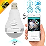 Light Bulb Security Camera 1080p Wireless Smart spy Camera WiFi Home Security Surveillance Baby Camera Panoramic Camera 1080 IP 360 fisheye for Kids pet Dog cat