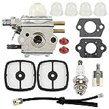 Hayskill C1U-K51 C1U-K45 Carburetor with Air Filter Primer Bulb Spark Plug Fuel Line Kit for Zama C1U-K51 C1U-K45 Echo HC-1500 HC-1600 HC-1800 HC-2000 HC-2400 HC-2410 Carb