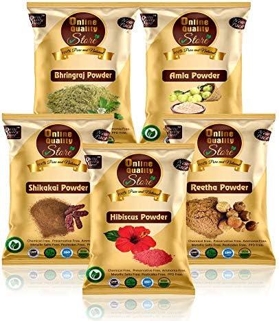 Online Quality Store Amla Reetha Shikakai, Bhringraj and Hibiscus Powder for Hair (250g Pack)